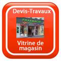 DEVIS-TRAVAUX-GRATUITS-Vitrine de magasin Devis Services